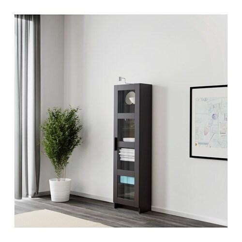 BRIMNES High cabinet with glass door Black 39×142 cm IKEA