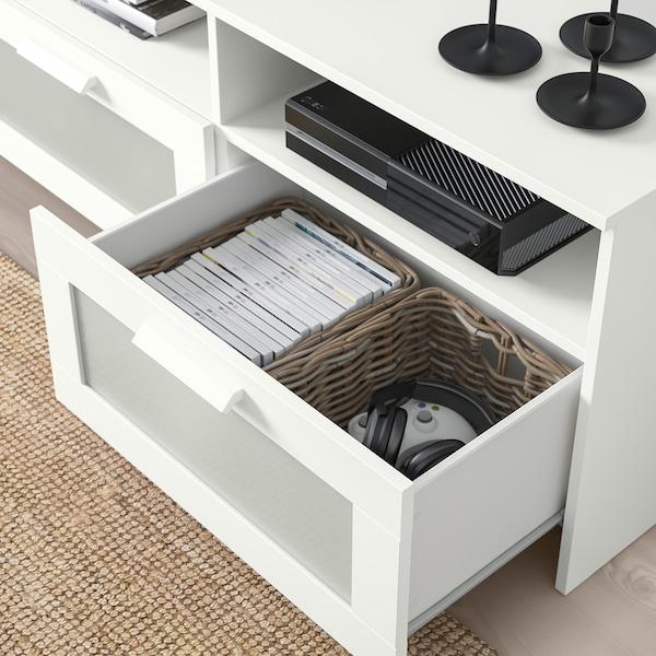 BRIMNES TV bench, white, 120x41x53 cm