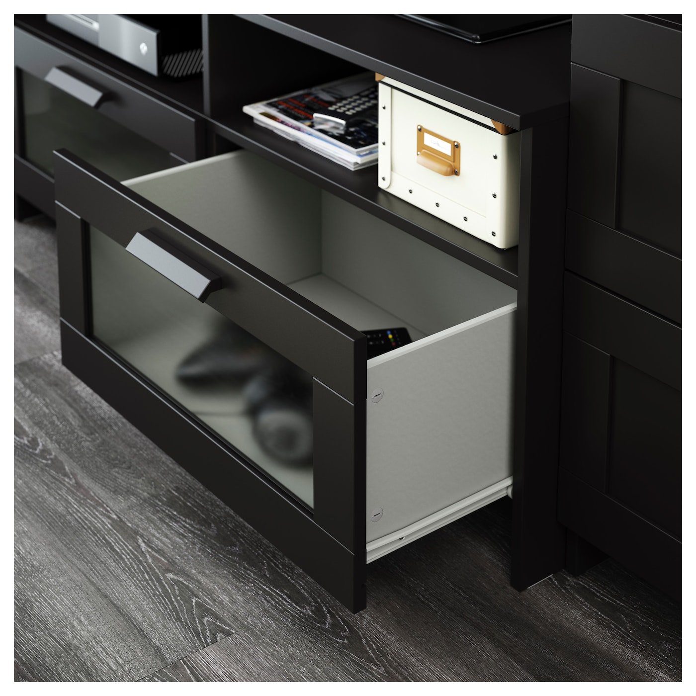 brimnes tv storage combination black 258 x 41 x 190 cm ikea. Black Bedroom Furniture Sets. Home Design Ideas