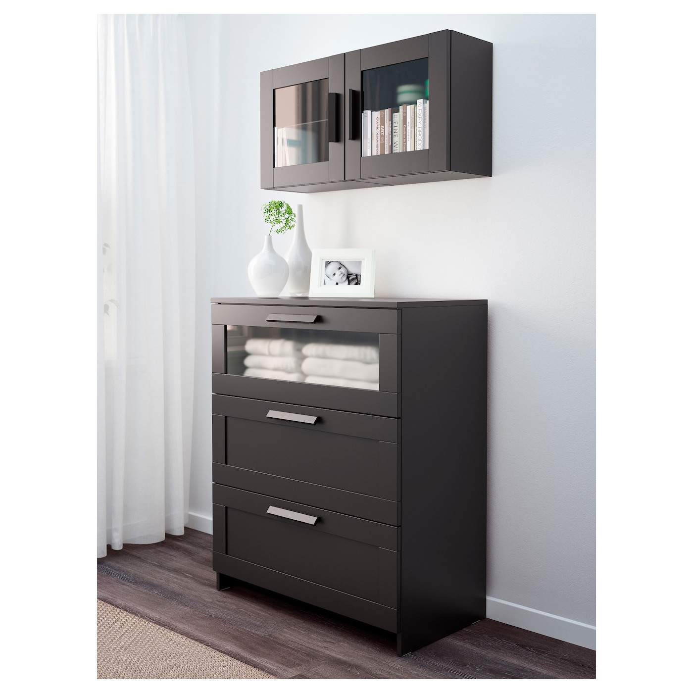 Brimnes wall cabinet with glass door black 39x39 cm ikea for Black cabinet with doors