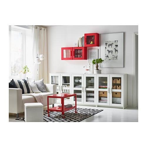 BRIMNES Wall cabinet with glass door Red 39×39 cm IKEA