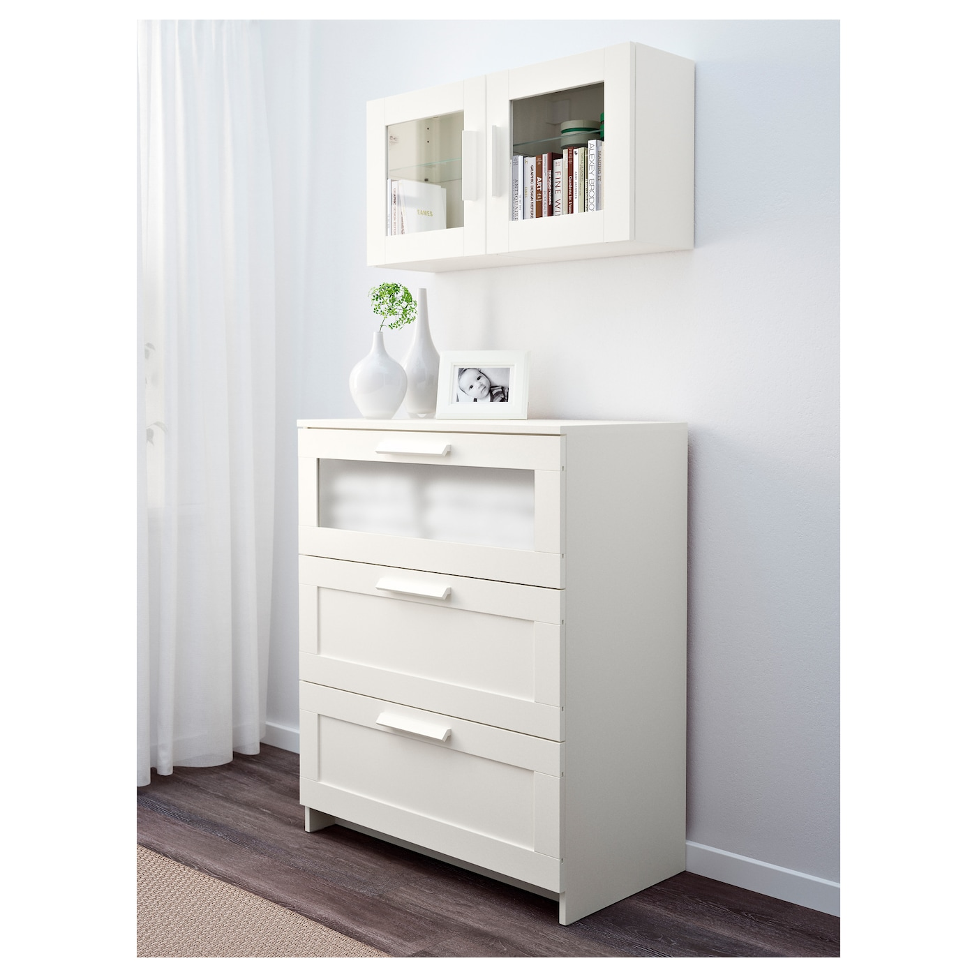 brimnes wall cabinet with glass door white 39 x 39 cm ikea. Black Bedroom Furniture Sets. Home Design Ideas