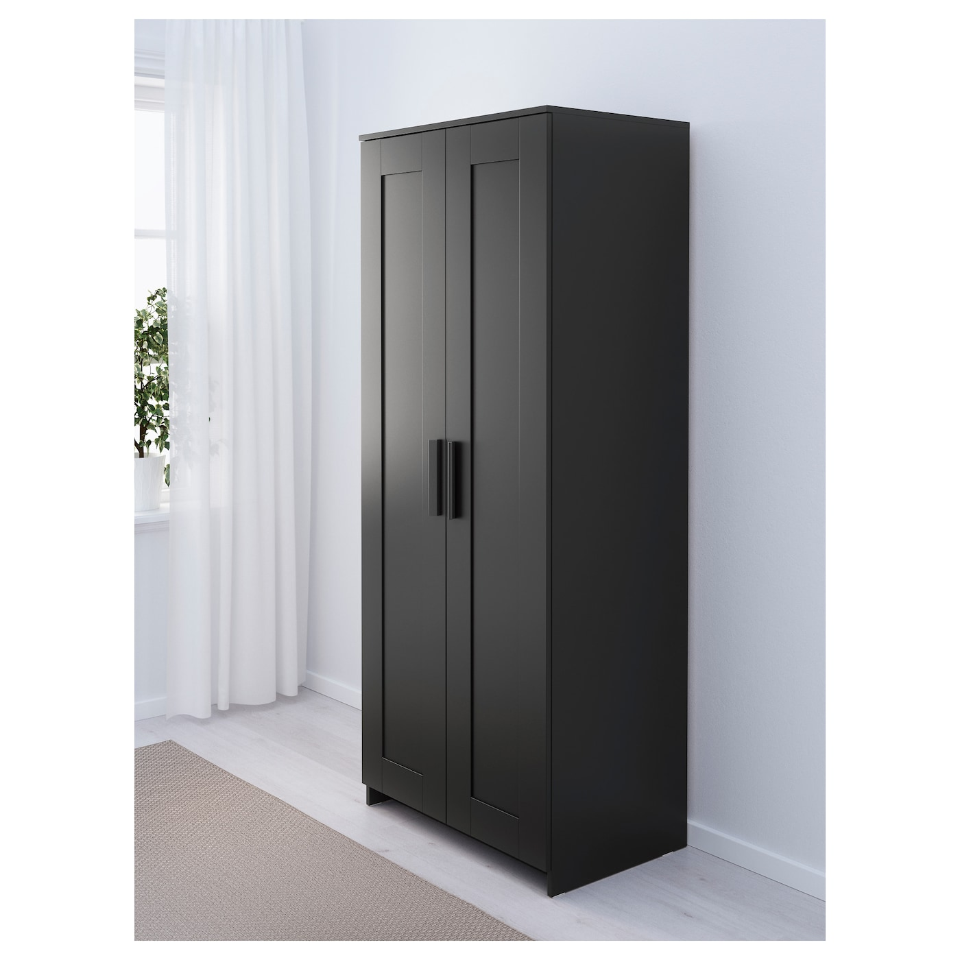 brimnes wardrobe with 2 doors black 78x190 cm ikea. Black Bedroom Furniture Sets. Home Design Ideas