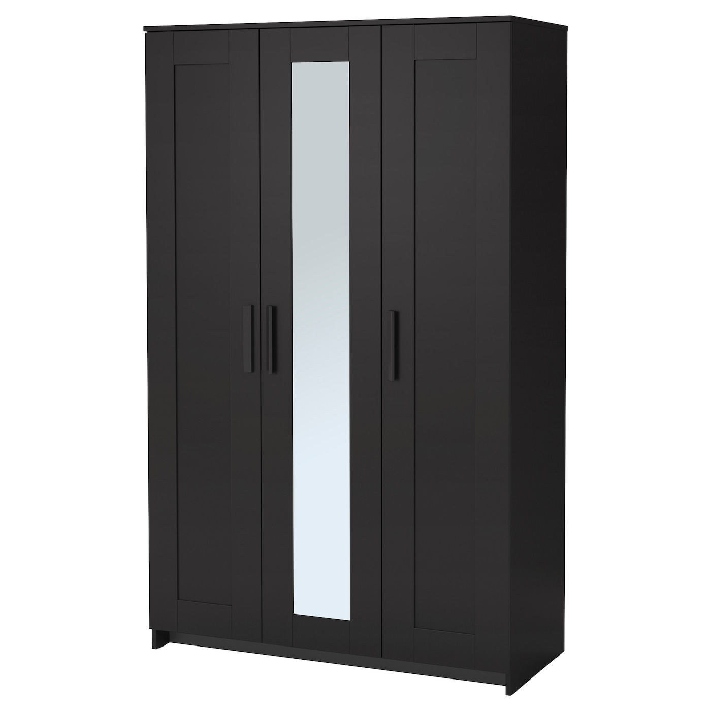 Brimnes wardrobe with 3 doors black 117x190 cm ikea for Porte miroir ikea