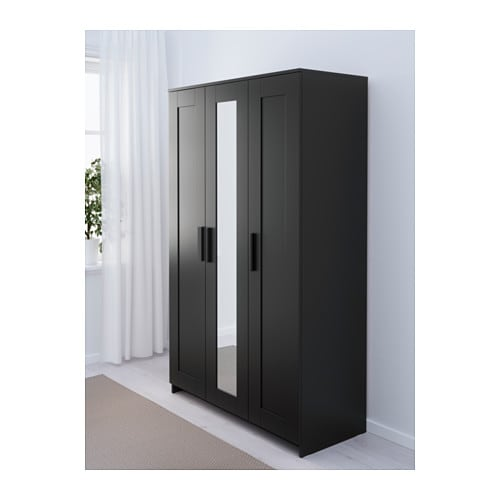 brimnes wardrobe with 3 doors black 117x190 cm ikea. Black Bedroom Furniture Sets. Home Design Ideas