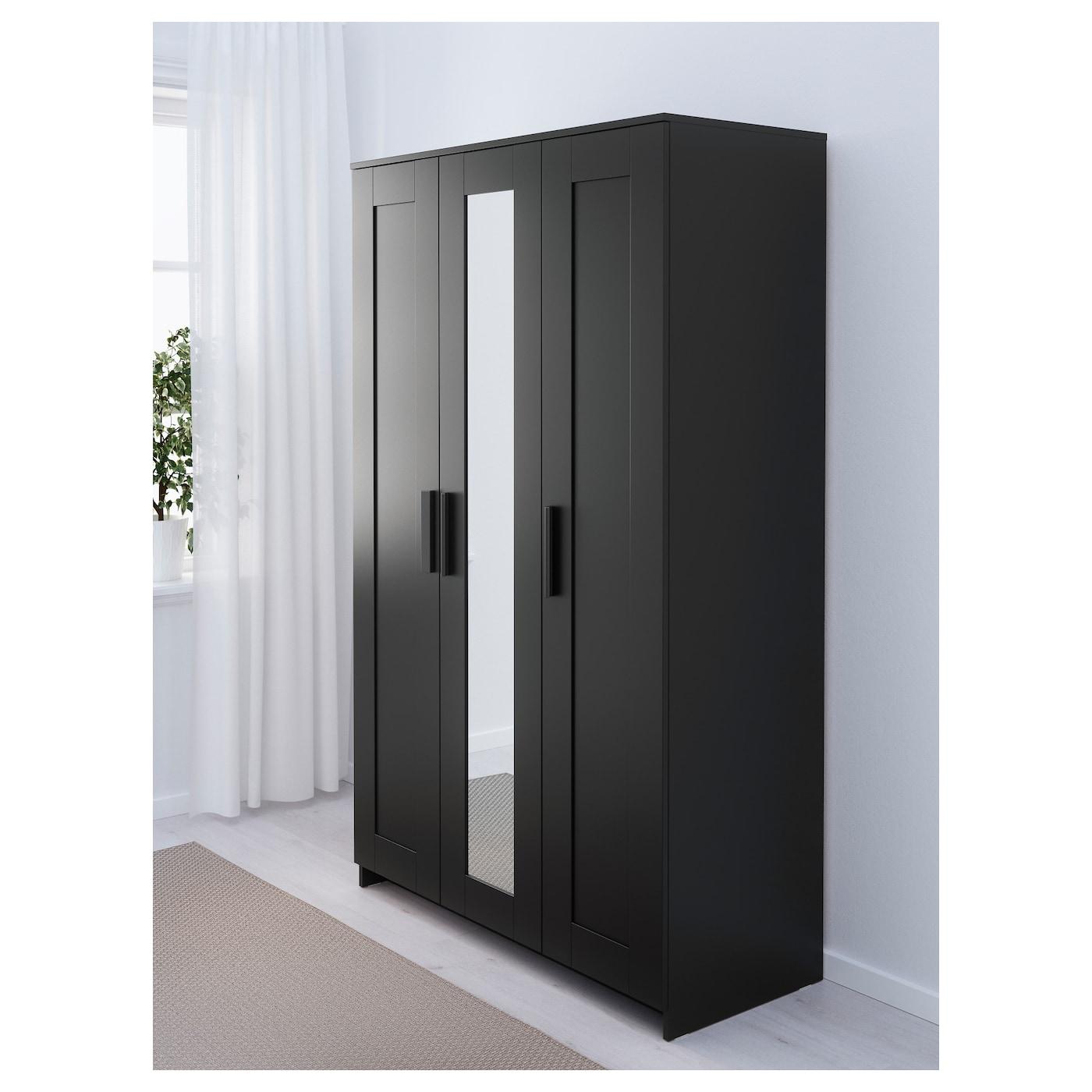 Objets Decoration Interieur : BRIMNES Wardrobe with 3 doors Black 117×190 cm  IKEA