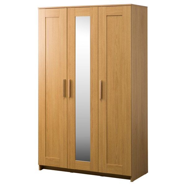 BRIMNES Wardrobe with 3 doors, oak effect, 117x190 cm