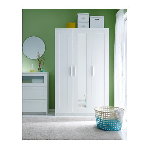 BRIMNES Wardrobe with 3 doors White 117×190 cm IKEA