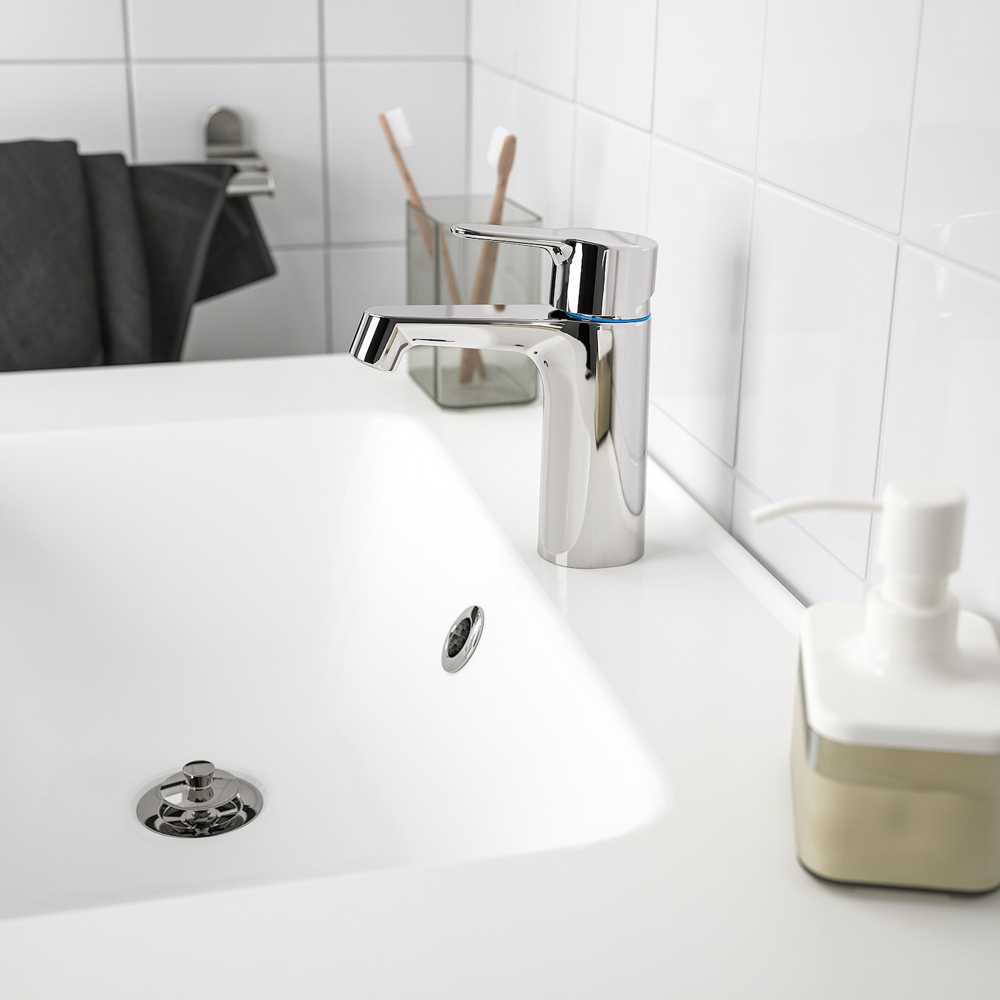 BROGRUND Wash-basin mixer tap with strainer, chrome-plated