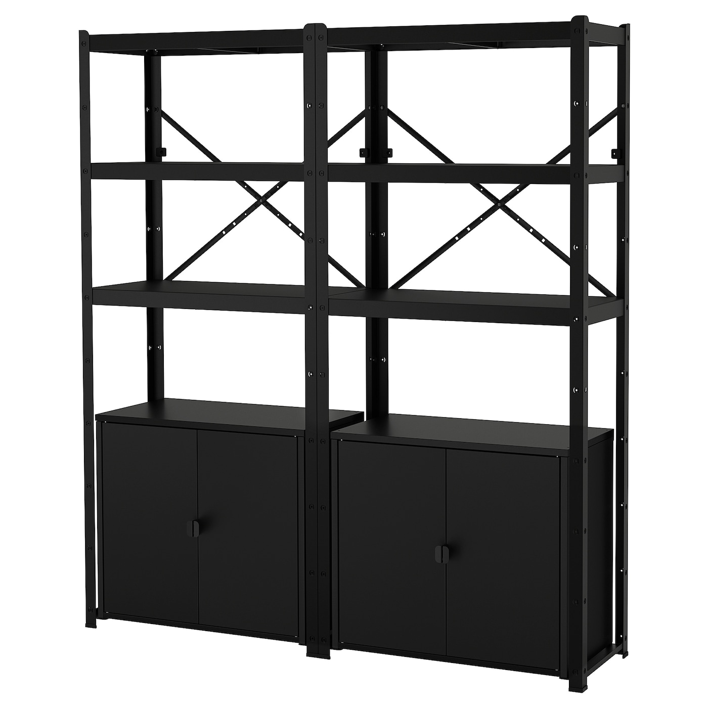 IKEA BROR shelving unit with cabinets Perfect for big heavy items like tools and books.