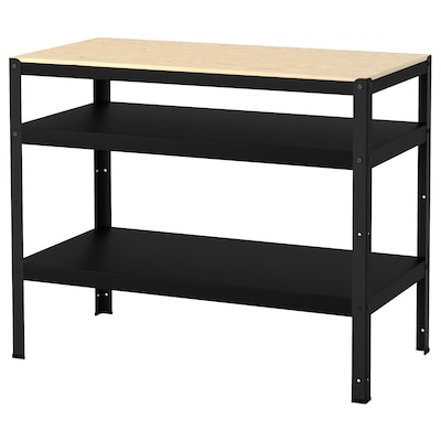 BROR Work bench, black/pine plywood, 110x55 cm