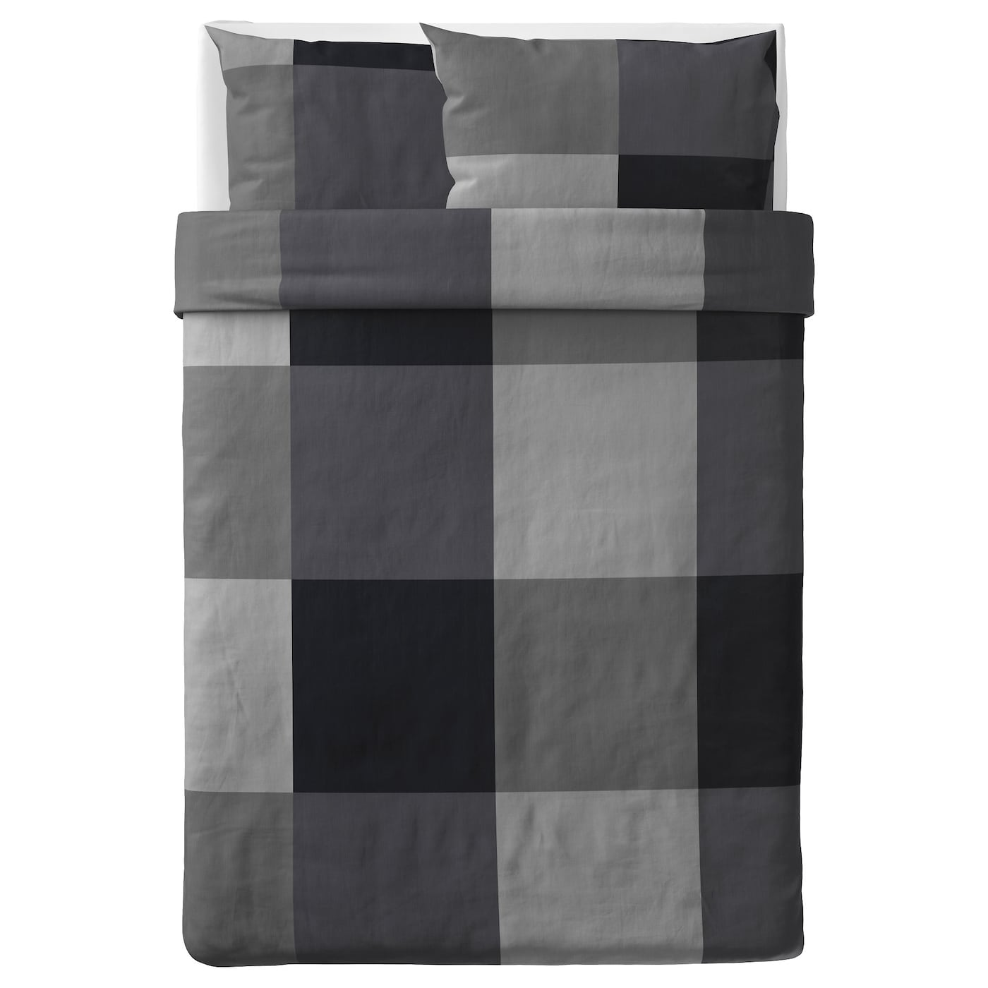 brunkrissla quilt cover and 2 pillowcases black 200x200 50x80 cm ikea. Black Bedroom Furniture Sets. Home Design Ideas