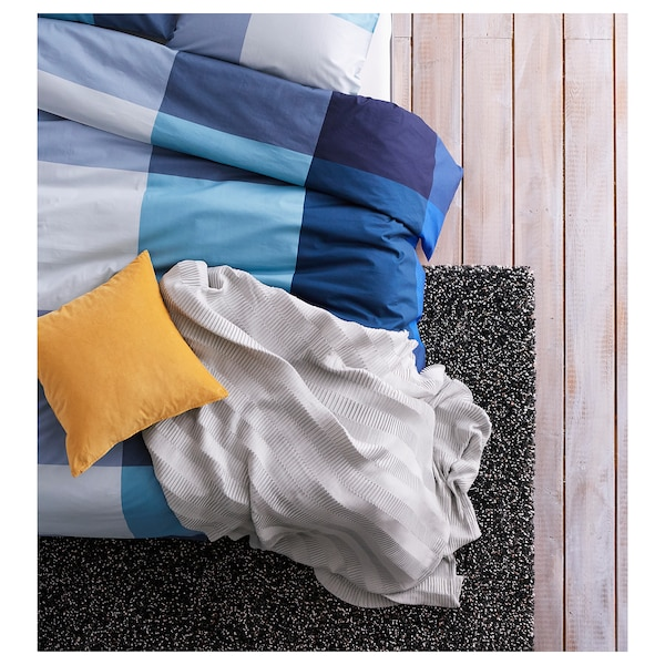 BRUNKRISSLA Quilt cover and 2 pillowcases, blue/grey, 200x200/50x80 cm