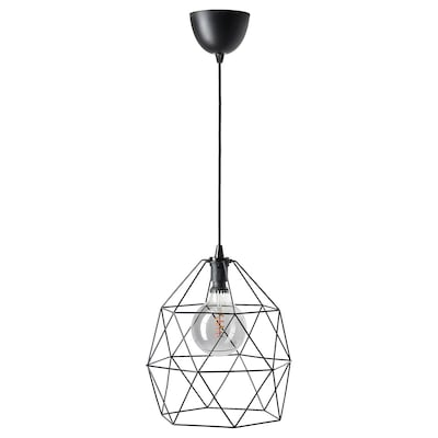 BRUNSTA / ROLLSBO Pendant lamp with light bulb, black/globe grey clear glass, 200 lmx125 mm