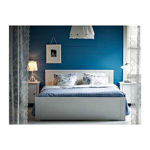 brusali bed frame white lur y standard double ikea. Black Bedroom Furniture Sets. Home Design Ideas