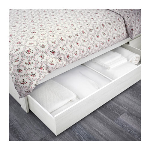 IKEA BRUSALI bed frame with 2 storage boxes
