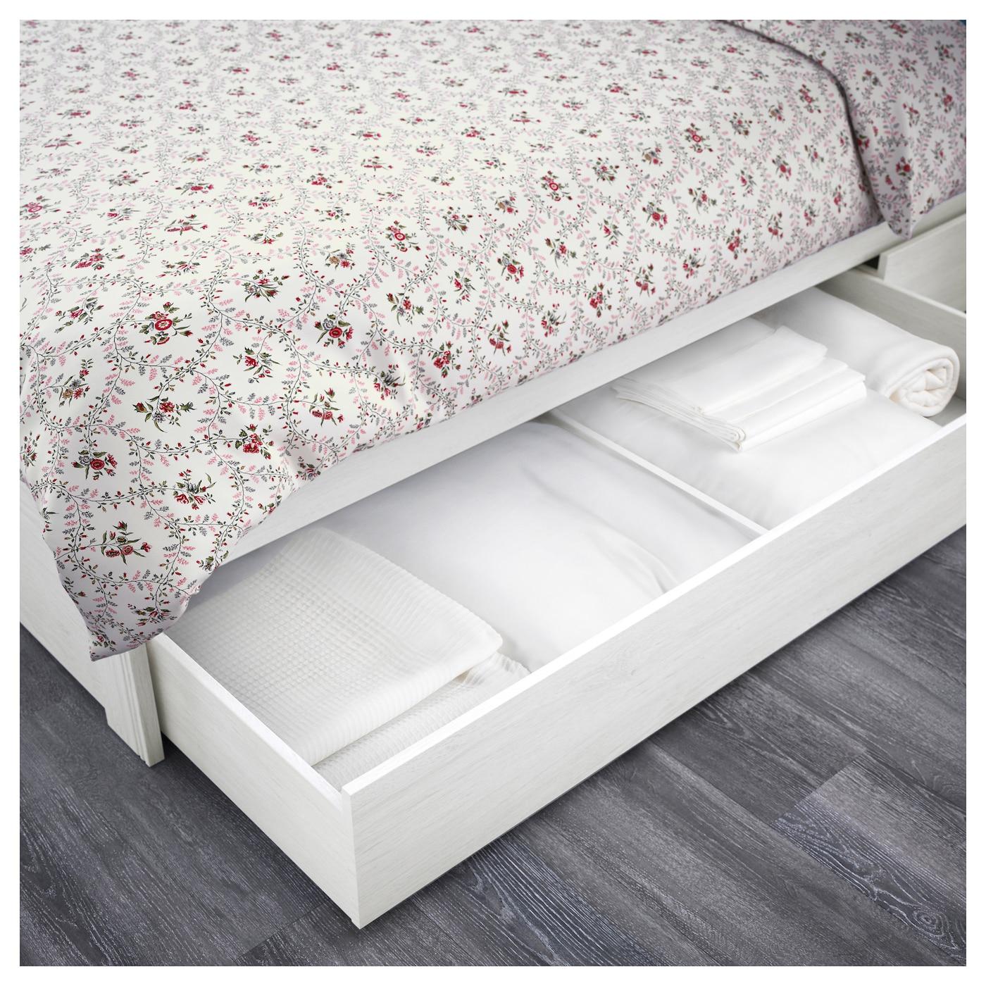 BRUSALI Bed frame with 2 storage boxes Whitelury Standard Double