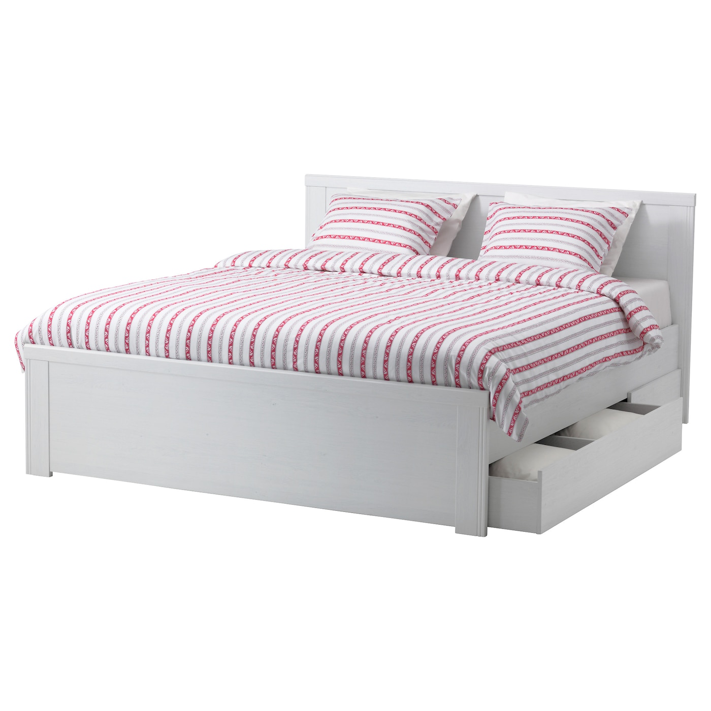 Brusali bed frame with 2 storage boxes white 140x200 cm ikea for Double bed with storage and mattress