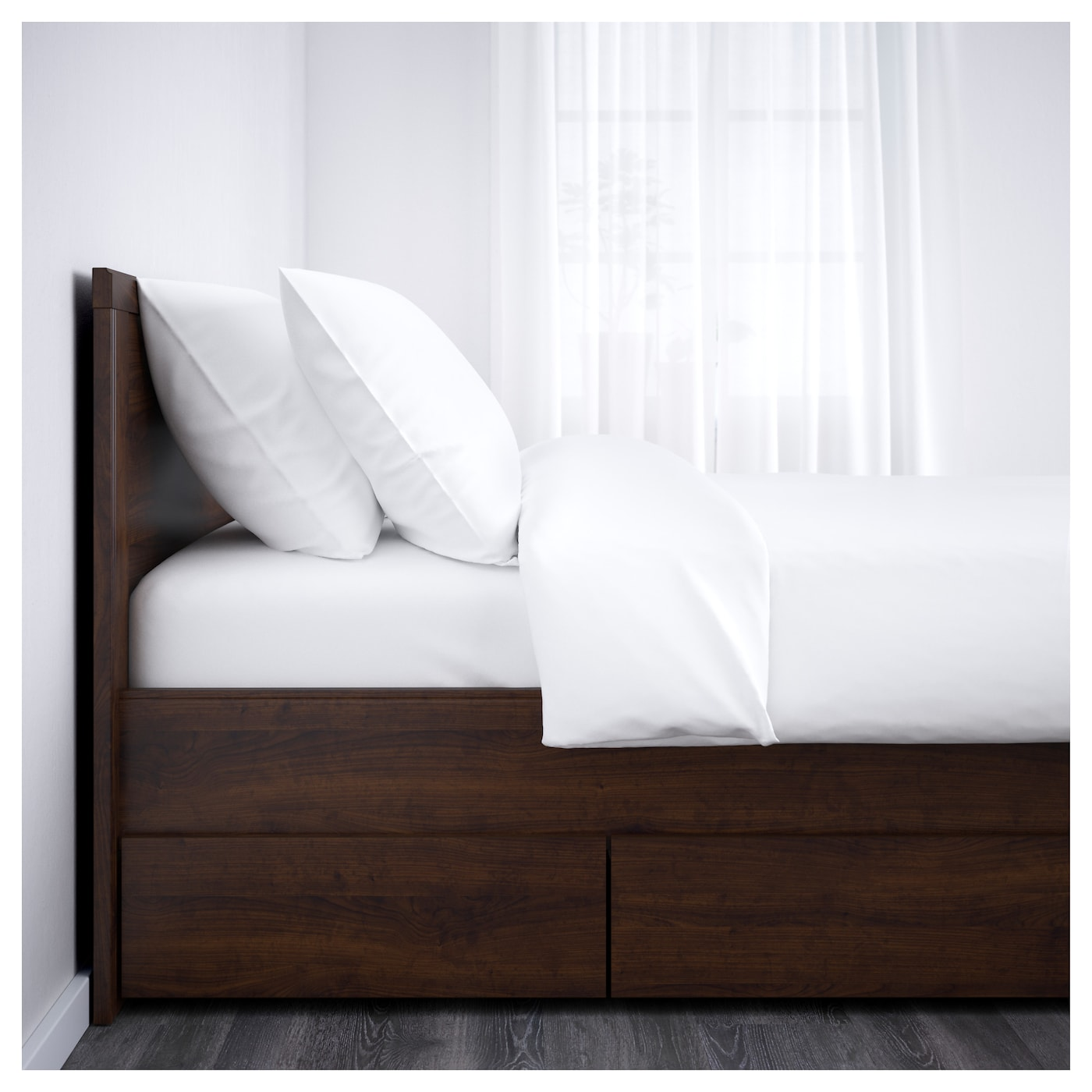 Brusali Bed Frame With 4 Storage Boxes Brown Lur 246 Y