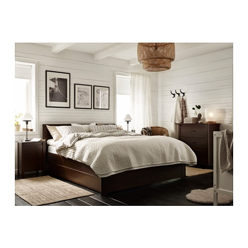 brusali bed frame with 4 storage boxes brown lur y standard double ikea. Black Bedroom Furniture Sets. Home Design Ideas