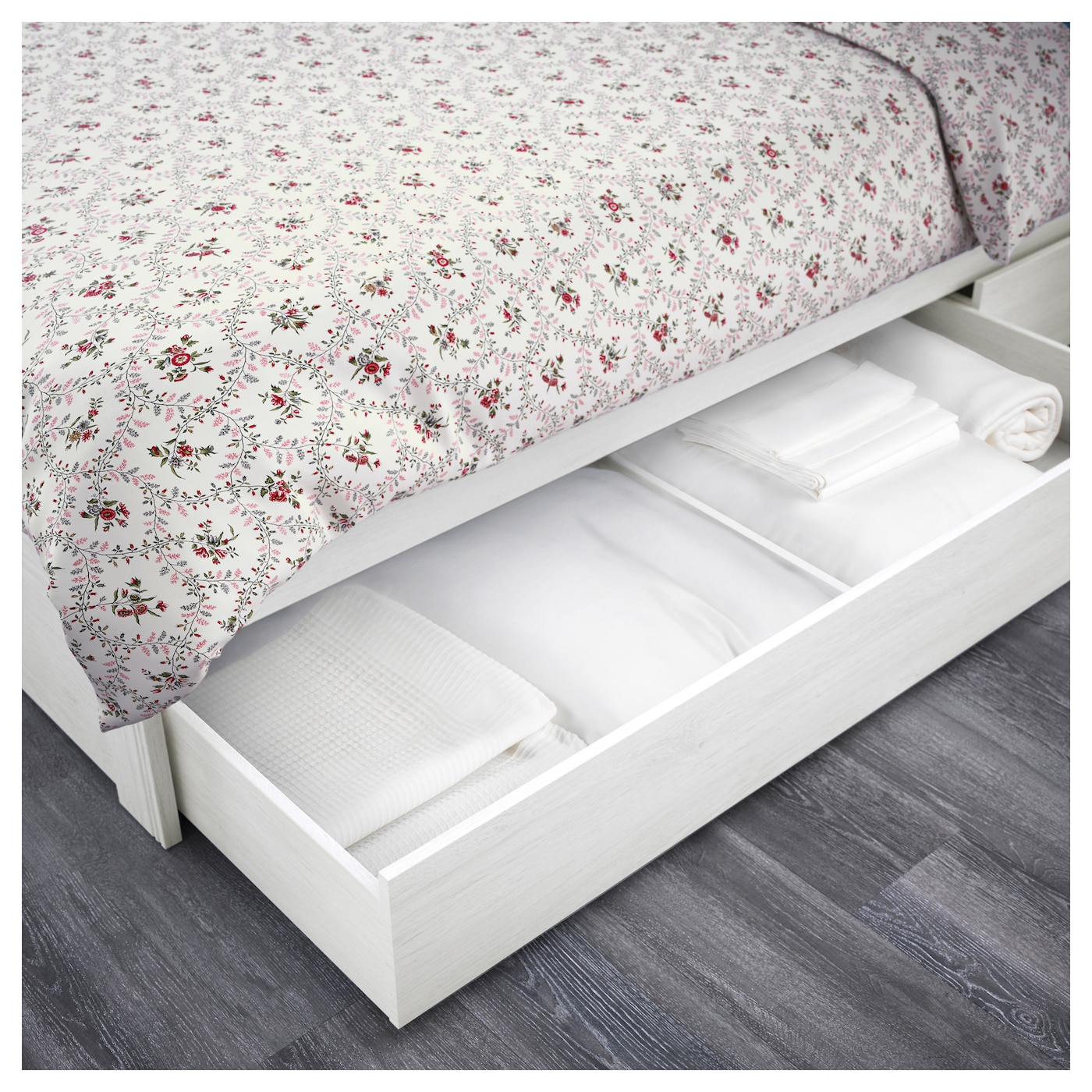 IKEA BRUSALI bed frame with 4 storage boxes