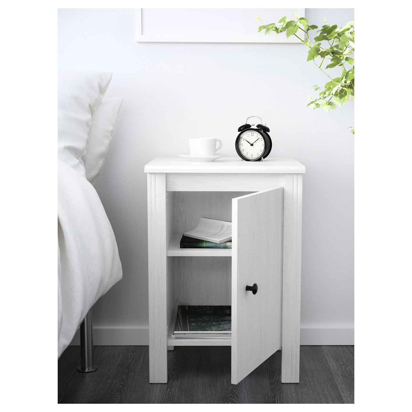 brusali bedside table white 44x36 cm ikea. Black Bedroom Furniture Sets. Home Design Ideas