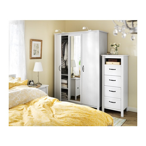 Brusali chest of 4 drawers white 51x134 cm ikea - Ikea armoire 3 portes ...