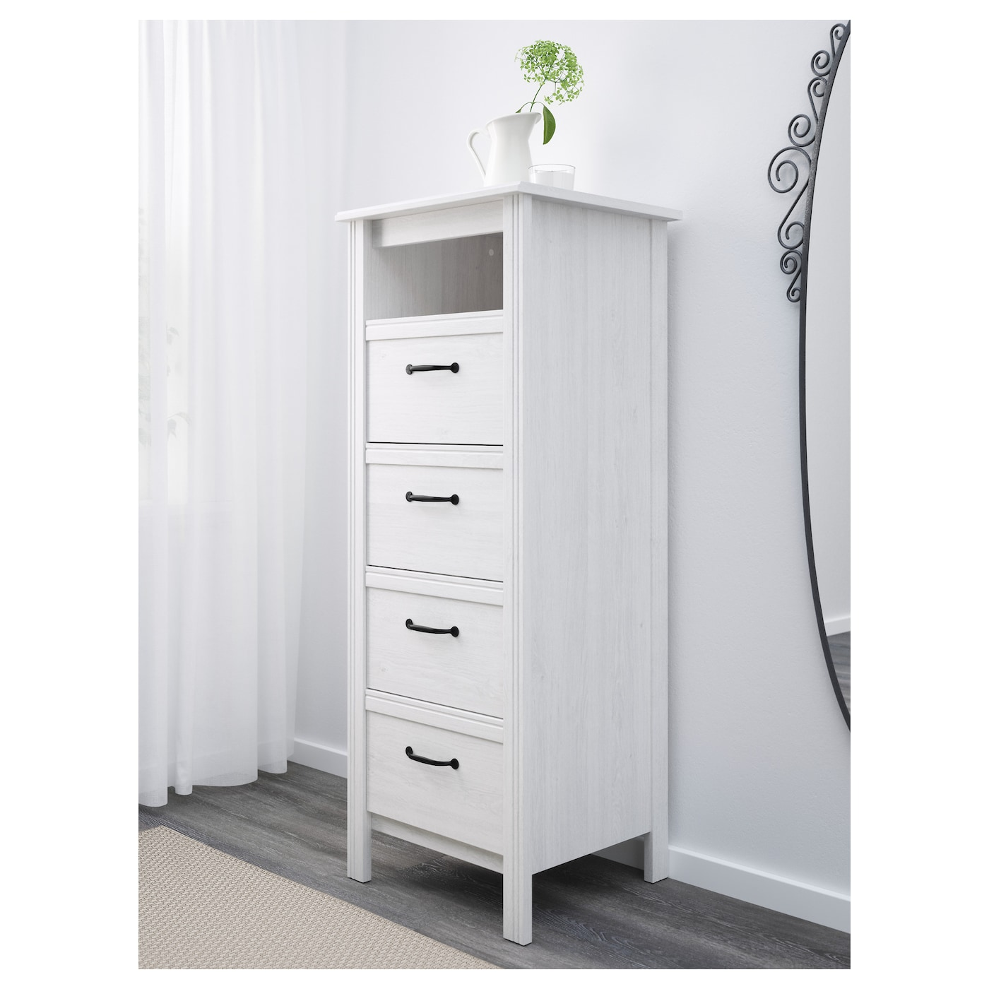 Brusali Chest Of 4 Drawers White 51x134 Cm Ikea
