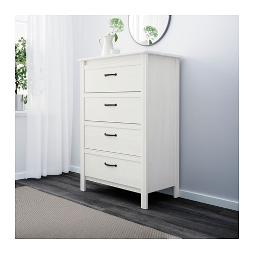 IKEA BRUSALI chest of 4 drawers Smooth running drawers with pull-out ...