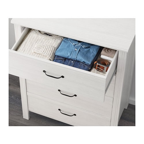 IKEA BRUSALI chest of 4 drawers Smooth running drawers with pull-out stop.