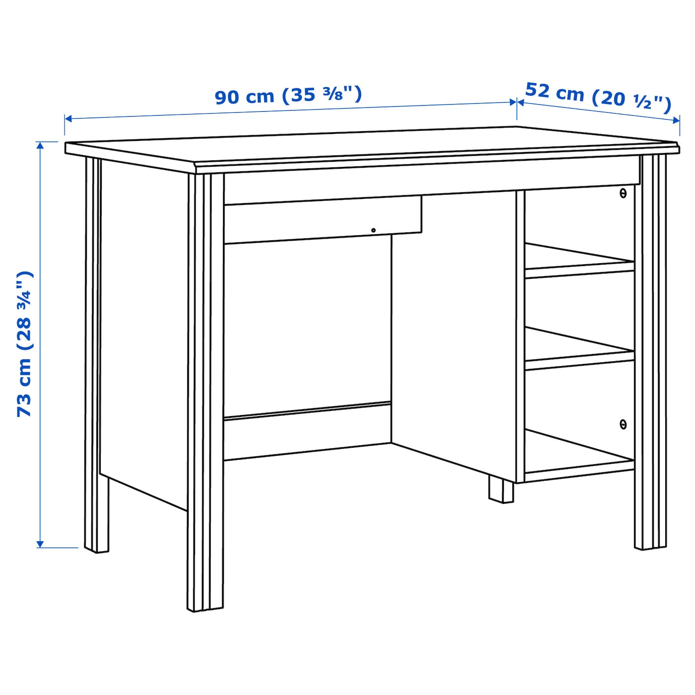 Brusali desk white 90x52 cm ikea for Bureau 90 cm largeur