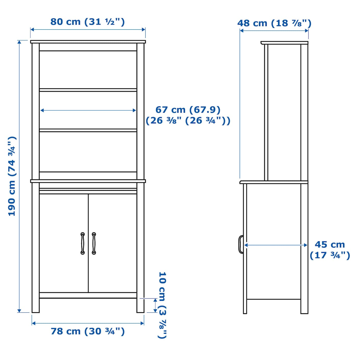IKEA BRUSALI high cabinet with door Adjustable shelves, so you can customise your storage as needed.