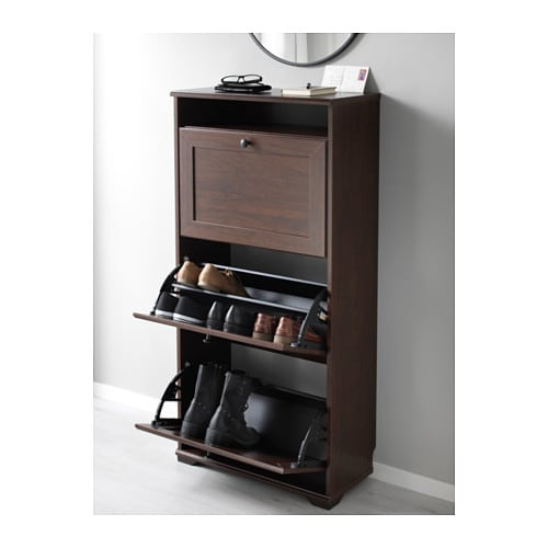 Brusali Shoe Cabinet With 3 Compartments Brown 61x130 Cm