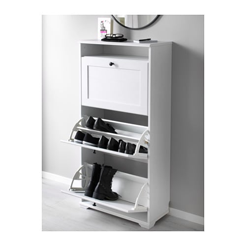 brusali shoe cabinet with 3 compartments white 61x130 cm. Black Bedroom Furniture Sets. Home Design Ideas