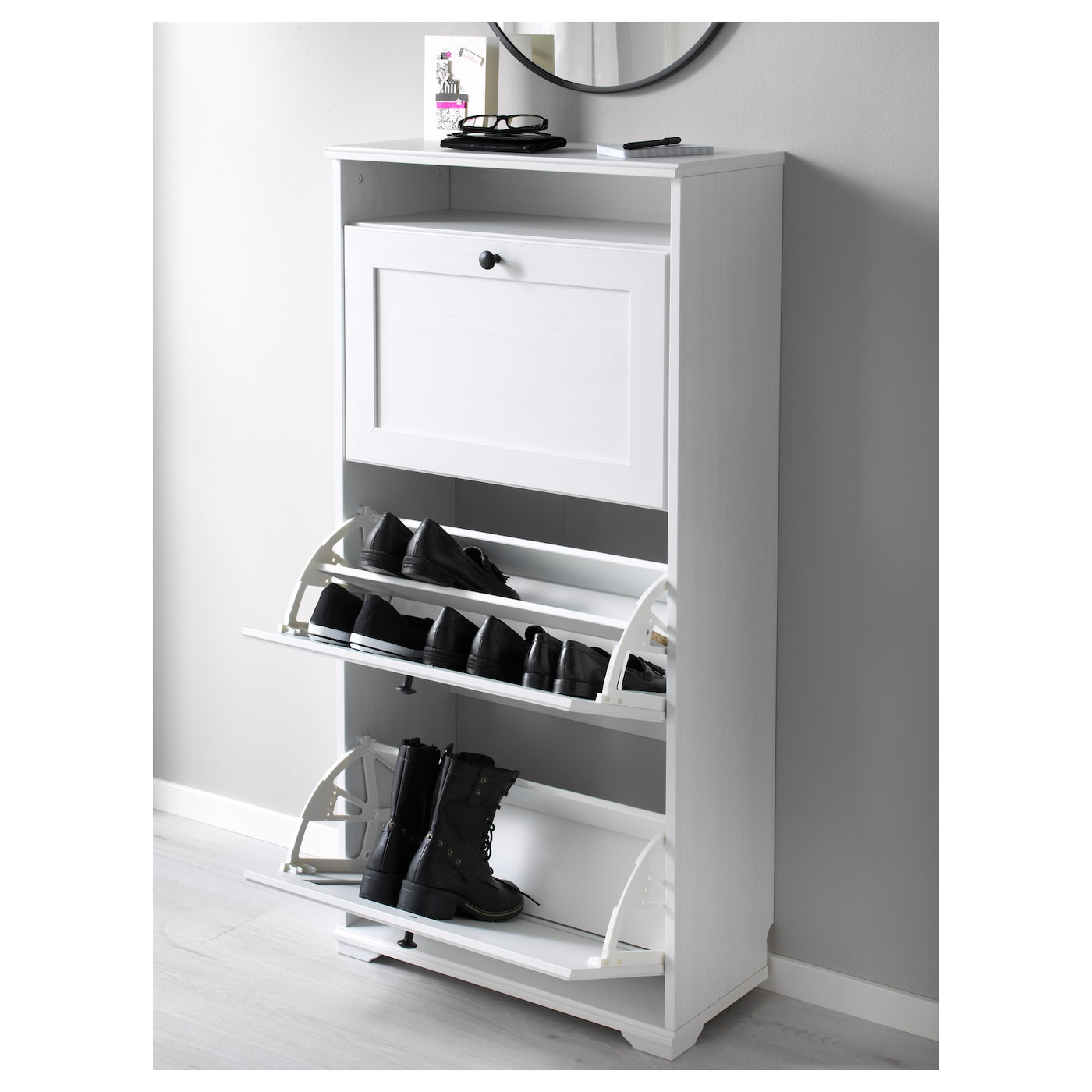 Brusali Shoe Cabinet With 3 Compartments White 61 X 130 Cm Ikea