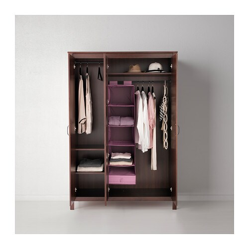 brusali wardrobe with 3 doors brown 131x190 cm ikea. Black Bedroom Furniture Sets. Home Design Ideas