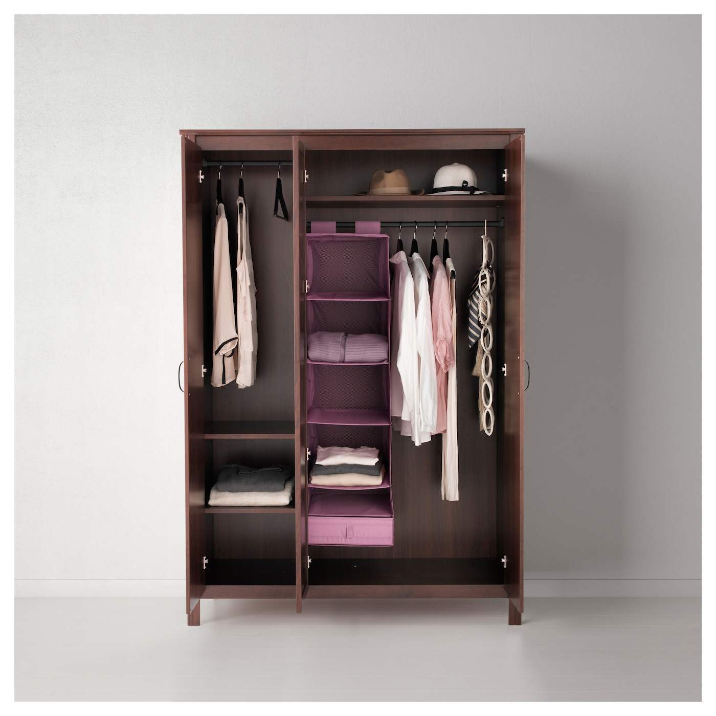 Brusali wardrobe with 3 doors brown 131x190 cm ikea - Customiser armoire ikea ...