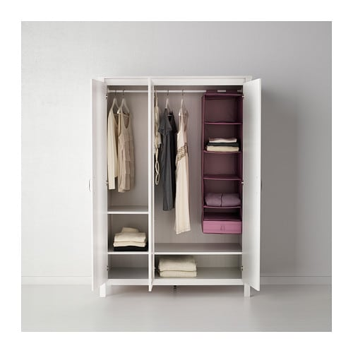 Brusali wardrobe with 3 doors white 131x190 cm ikea - Ikea armoire 3 portes ...