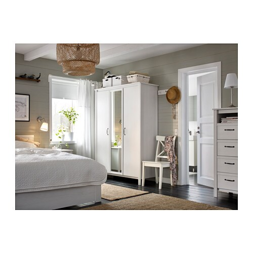 Brusali wardrobe with 3 doors white 131x190 cm ikea for Brimnes guardaroba