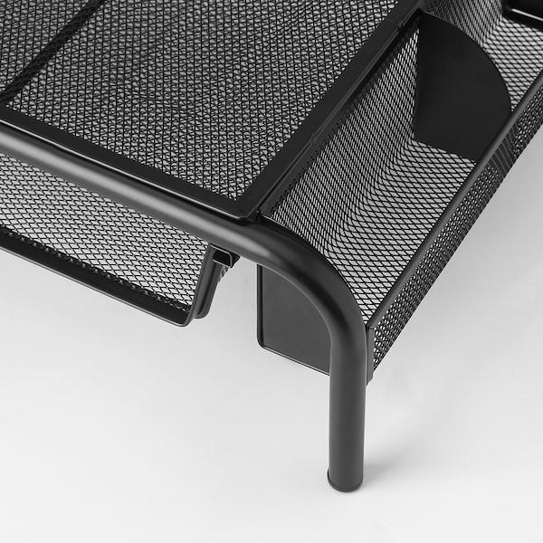 BRYTET Monitor stand with drawer, mesh/black