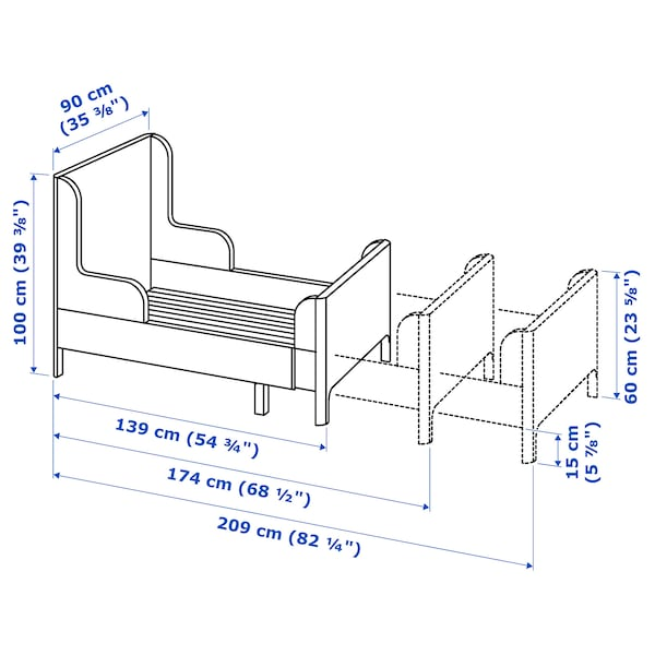 BUSUNGE Extendable bed - white - IKEA