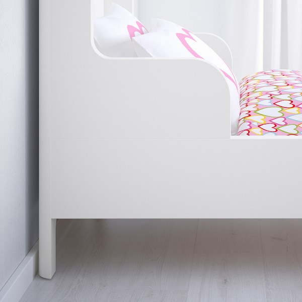 BUSUNGE Extendable bed, white, 80x200 cm