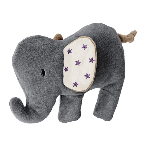 IKEA CHARMTROLL squeaky toy The elephant squeaks when squeezed, stimulating your baby's hearing.