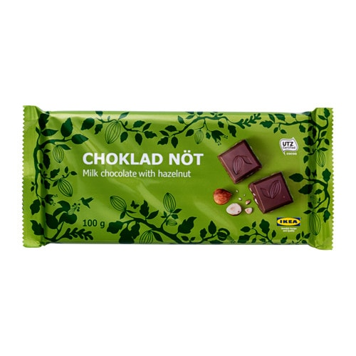 IKEA CHOKLAD NÖT milk chocolate bar w hazelnuts The chocolate contains a minimum of 30% cocoa.