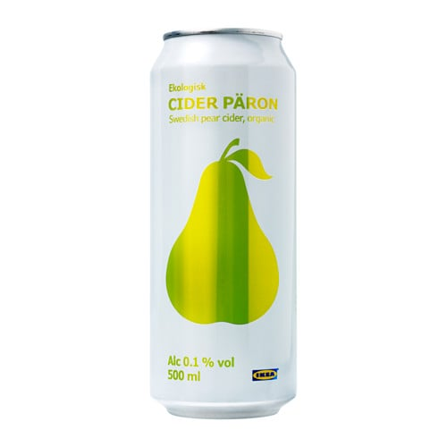 IKEA CIDER PÄRON pear cider 0.1% Organic; includes no artificial ingredients or preservatives.