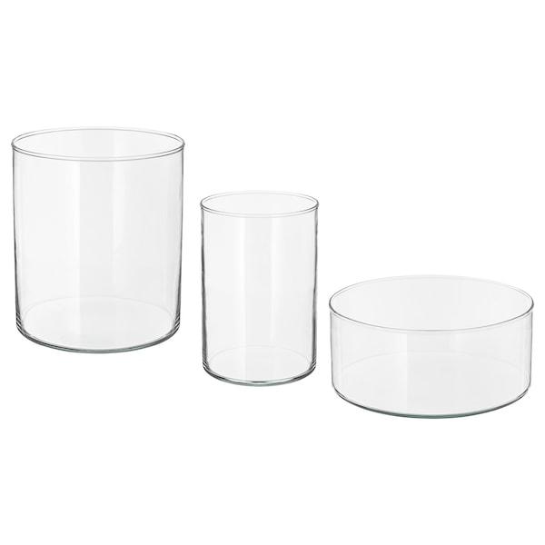 CYLINDER Vase/bowl, set of 3, clear glass