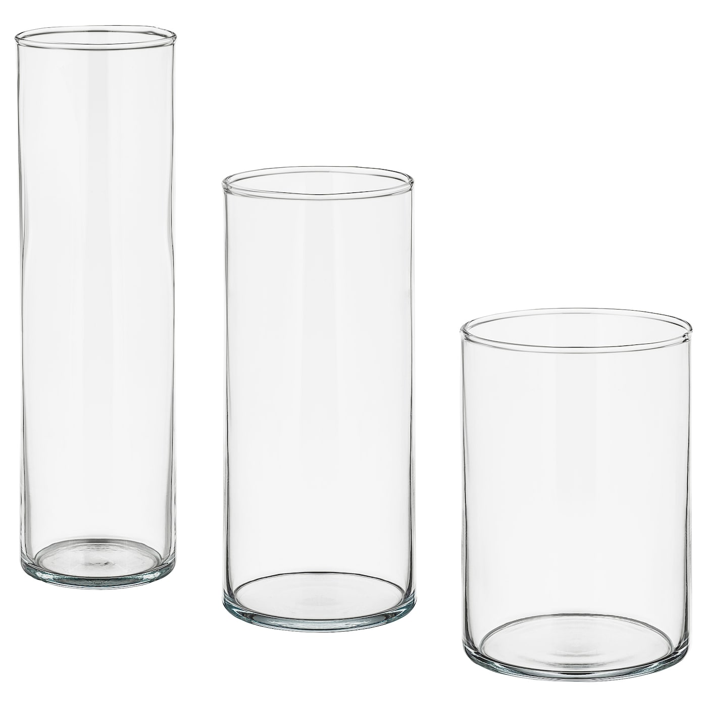 IKEA CYLINDER vase, set of 3 Can be stacked inside one another to save room when storing.