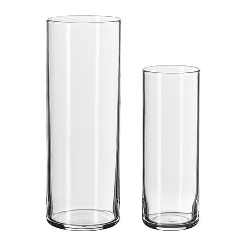 CYLINDER Vase, set of 2 IKEA Can be stacked inside one another to save room when storing.