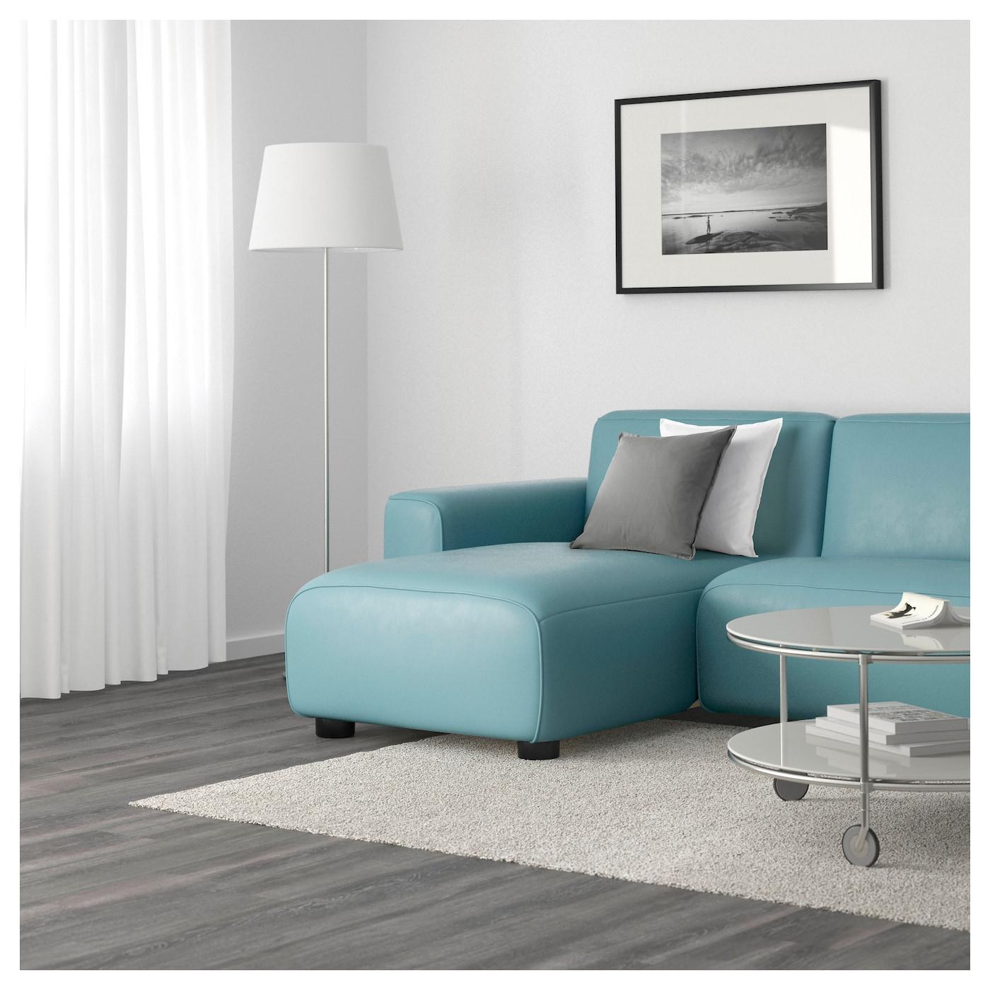 Dagarn two seat sofa with chaise longue kimstad turquoise for Chaise longue bleu turquoise