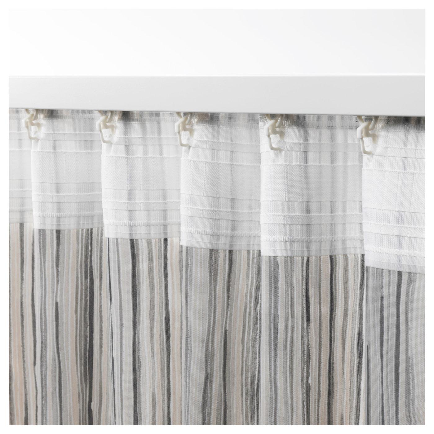 Dagrun Curtains 1 Pair White Grey 145x250 Cm Ikea